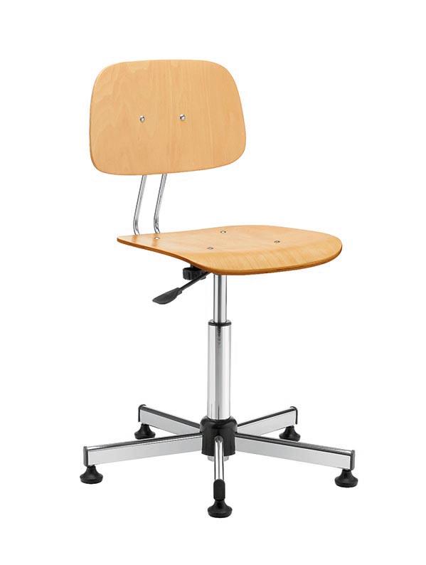 Sgabello da lavoro con base in acciaio e schienale e seduta in faggio multistrato