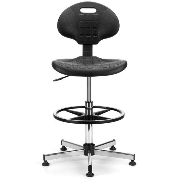 Sgabello da lavoro o laboratorio regolabile con poggiapiedi e seduta e schienale in poliuretano