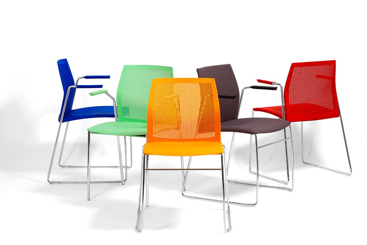 sedie per sale attesa o conferenze con braccioli in acciaio e poggiagomiti