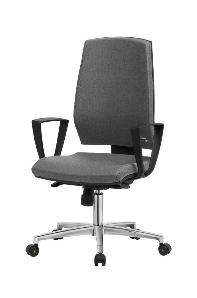 sedia antistatica con schienale alto e base a cinque razze con ruote