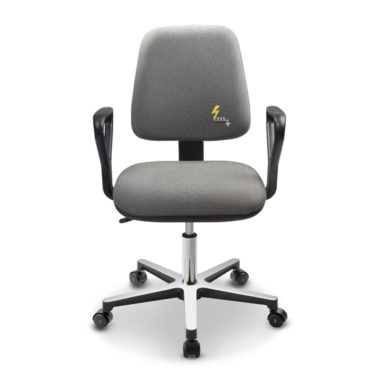 Gref 210 - Antistatic swivel chair, with fixed armrests and castors