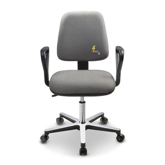 Gref 210 - ESD antistatic chair in conductive fabric with armrests