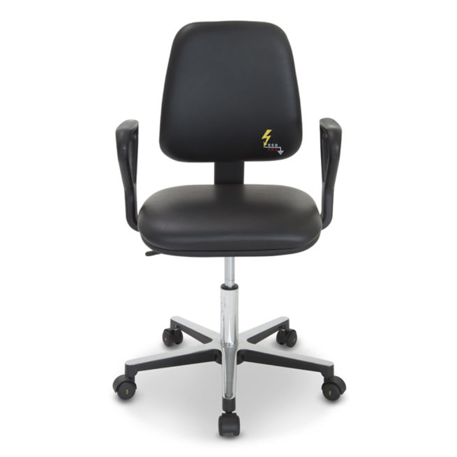 Gref 210 - ESD antistatic chair in antistatic eco-leather with armrests
