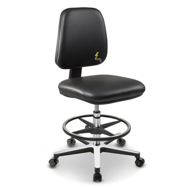 Gref 214 - Antistatic swivel laboratory stool, with adjustable footrest and castors. Eco leather