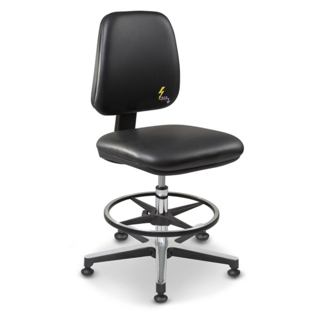 Gref 215 - Antistatic swivel laboratory stool, with adjustable footrest and glides. Eco leather