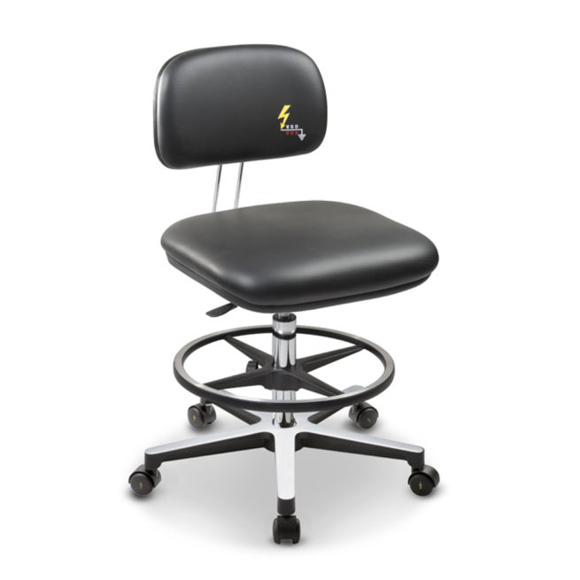 Gref 234 - Antistatic stool with artificial leather, castors and footrest.