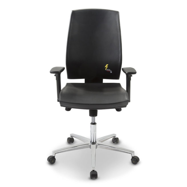 Gref 260 - Eco-leather antistatic office chair with high backrest and adjustable armrests.