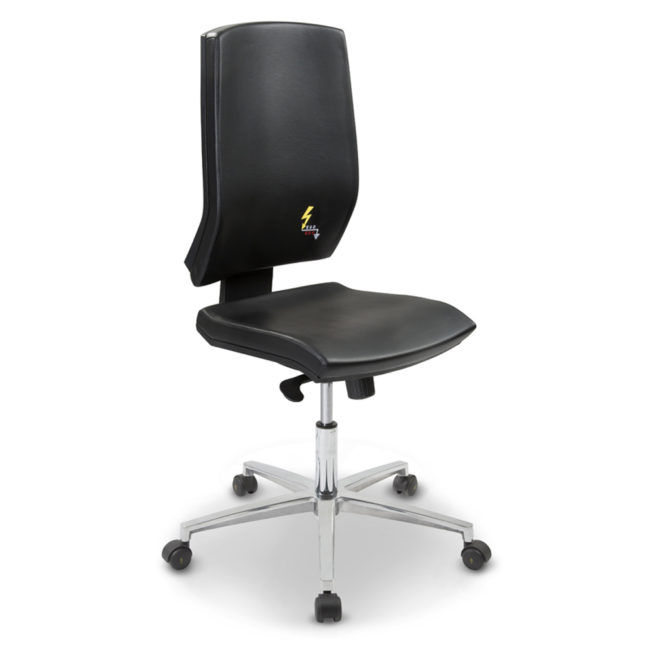 Gref 261 - Eco-leather antistatic office chair  with ergonomic high backrest.