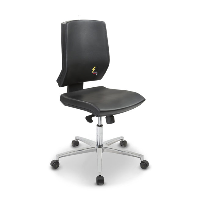 Gref 263 - Antistatic swivel chair for office with castors, with low backrest. Eco leather