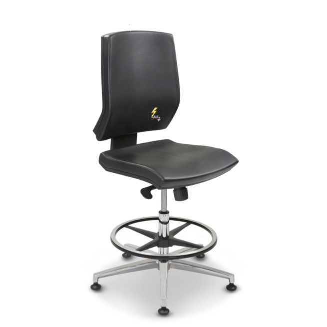 Gref 264 - Antistatic swivel chair for office, with low backrest and fixed armrests. Eco leather