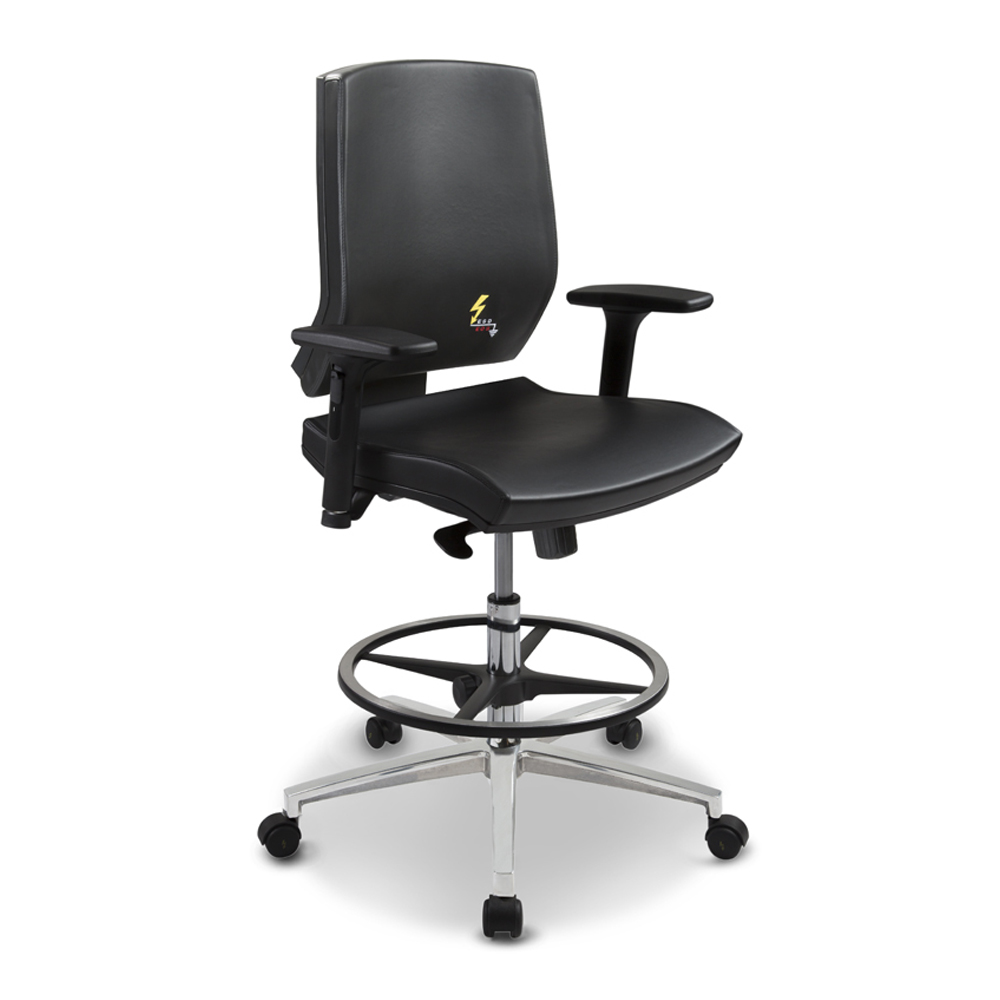 Gref 266 - Antistatic swivel chair for office, with low backrest and armrests.