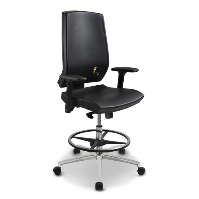Gref 270 - Antistatic stool esd in eco-leather with armrests