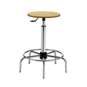Mod. 1108 - Sgabello da laboratorio con sedile in legno