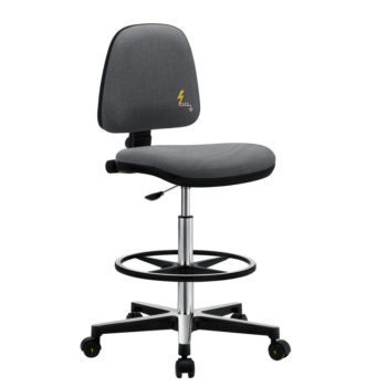 Gref 214 - Antistatic swivel laboratory stool, with adjustable footrest and castors.