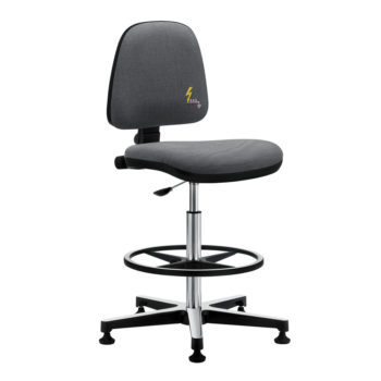 Gref 215 - Antistatic swivel laboratory stool, with adjustable footrest and glides.