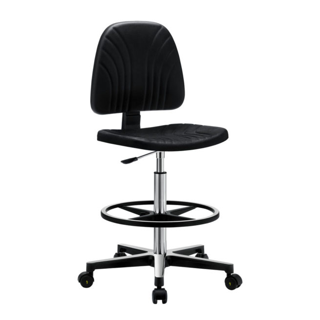 Gref 237 - Antistatic swivel stool in integral polyurethane, with castors and adjustable footrest.