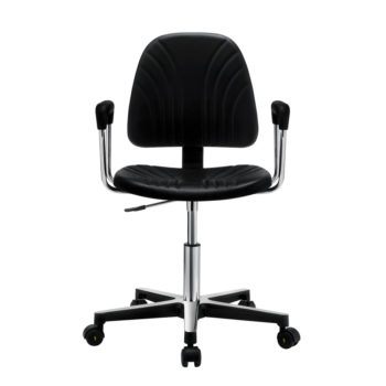 Gref 240 - Swivel antistatic chair in integral polyurethane, with castors and armrests.