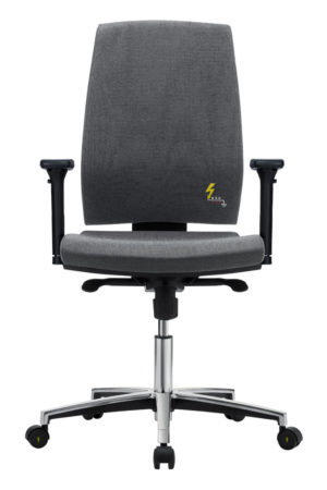 Gref 260 - Antistatic office chair with high backrest and adjustable armrests.