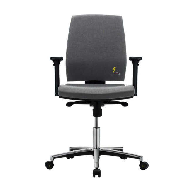 Gref 262 - Antistatic swivel chair for office and laboratory, with low backrest and adjustable armrests.