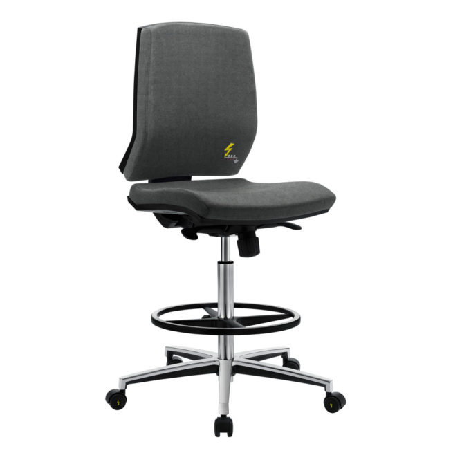Gref 264 - Antistatic swivel chair for office, with low backrest and fixed armrests.
