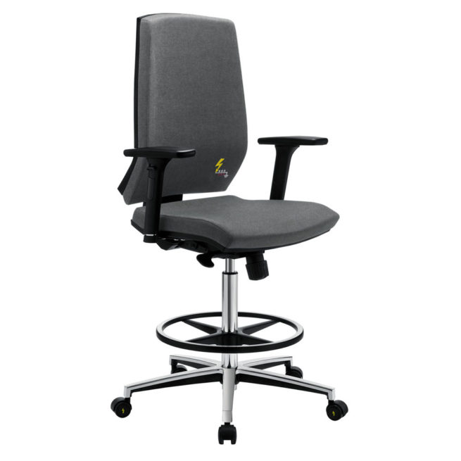 Gref 270 - Antistatic office and laboratory stool, with high backrest and adjustable armrests