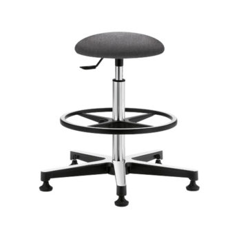 Gref 203 - Fabric upholstered antistatic stool with round seat, footrest and glides.