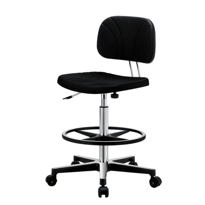 Gref 229 - Antistatic swivel work stool in polyurethane, with castors.
