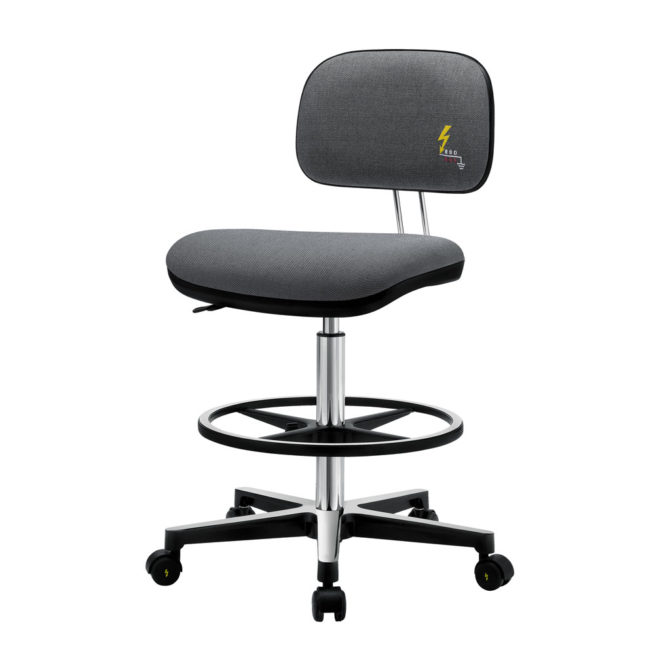Gref 234 - Antistatic stool with fabric upholstery, castors and footrest.
