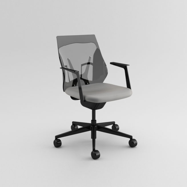 Shine 100 - Swivel methacrylate working chair on castors