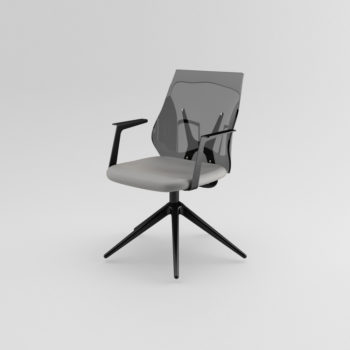 Shine 120 swivel armchair with pyramidal base
